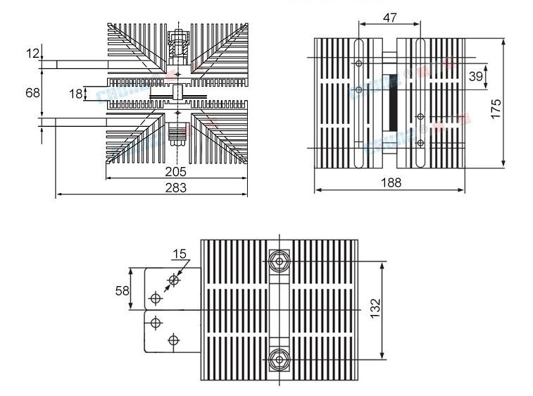 Kích thước bộ tản nhiệt thyristor